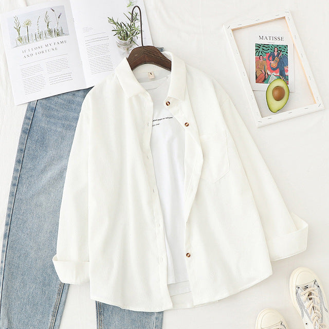 Corduroy Shirts Womens Tops And Blouses Long Sleeve Spring Ladies Solid Loose Boyfriend Style Shirt