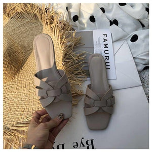 DONLEE QUEEN Women Brand Slippers Summer Slides Open Toe Flat Casual Shoes Leisure Sandal Female Beach Flip Flops Big Size 41