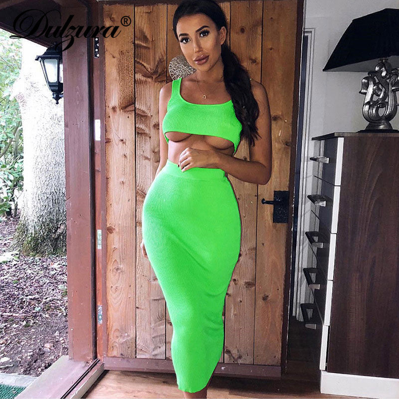 Dulzura neon ribbed knitted women two piece matching co ord set crop top midi skirt sexy festival party 2019 winter clothing