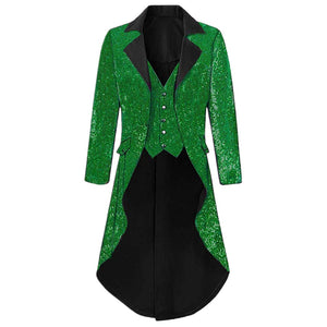 Mens Notch Lapel Gorgeous Sequin Tailcoat Jacket Cosplay Costume Party Colorful Blazer Coat For Big And Tall Men Long Steampunk