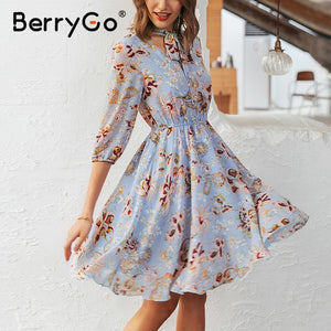 BerryGo Vintage floral print boho dress women Casual long sleeve spring chic party dress High waist work wear office lady dress