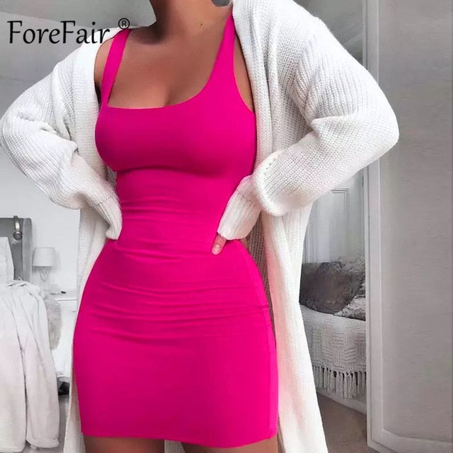 Forefair Solid Summer Dress Sexy Square Neck Casual Close Fitting Off Shoulder Short Bodycon Stretchy 2020 Dress Women