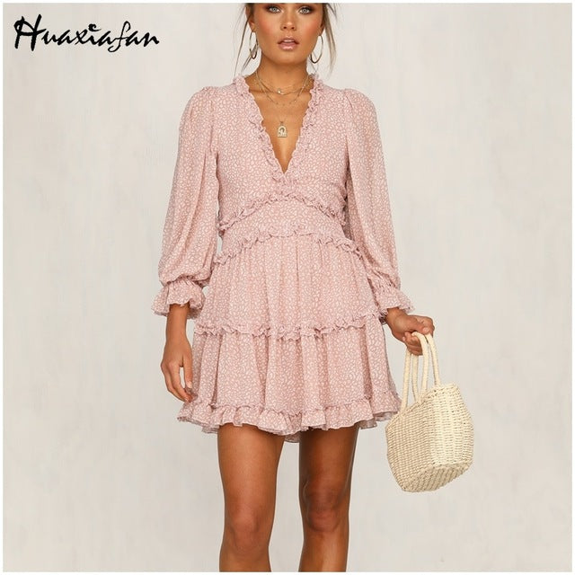 women dresses Sexy v-neck backless dress printed Elegant lantern sleeve ruffle dresses summer holiday mini dress Vestido 2020