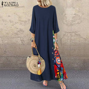 Vintage Stitching Dress Women's Maxi Sundress ZANZEA 2020 Casual 3/4 Sleeve Summer Vestidos Female O Neck Floral Robe Plus Size