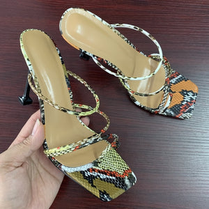Women sandals snake print strappy mule heels sandals slippers women high heels flip flops square toe slides party shoes woman