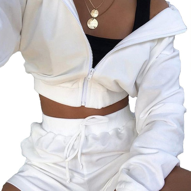 Autumn New Fashion 2Pcs Sports Clothing Suit Casual Womens Girls Zipper Sweater Hoodie Long Sleeve Hoodies+High Wait Shorts Sets
