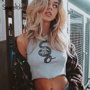 Sweetown Snake Pattern Sexy Women Bralette Crop Top Sleeveless Fashion 2020 Hot Summer Skinny Slim Party Tank Tops Activewear