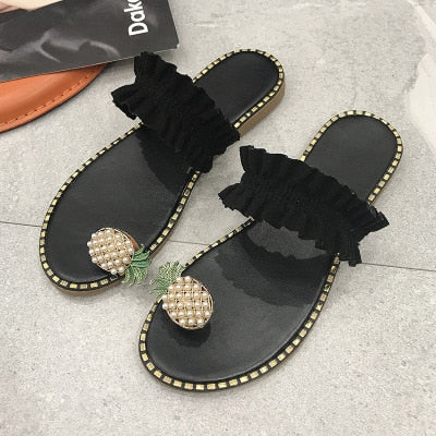 Women Flats Slippers Summer Casual Flip Flops Flowers Pearl Woman Flat Shoes 35-43 plus size Comfortable Female Beach Sandals