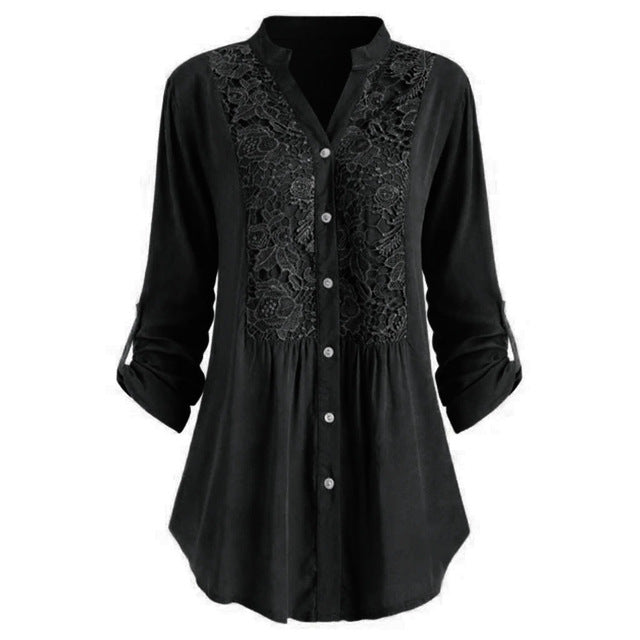 Plus Size Blouse women блузка женская Summer autumn tops and blouses Button Lace V Neck Long Sleeve shirts #3