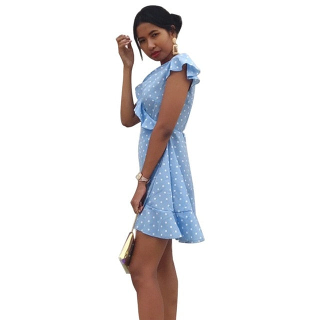 Women\'s  Dress Summer Sexy  V neck Dot Slim waist A-line Dress Fashion butterfly Sleeve Elegant Vintage Mini dress feminina