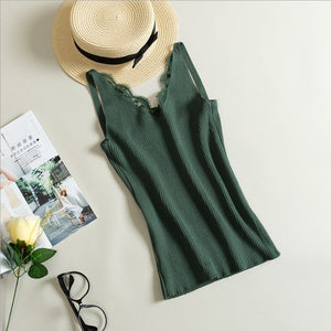 Women Hook Flower Lace Tank solid Stitching V-neck Camis Female Knitted Short Slim Sleeveless Shirt Tank Casual Tops