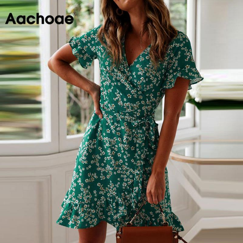 Aachoae Women Dresses Summer 2020 Sexy V Neck Floral Print Boho Beach Dress Ruffle Short Sleeve A Line Mini Dress Sundress Robe
