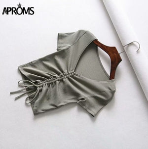 Aproms Sexy V Neck Cropped Tank Tops Women Drawstring Tie Up Front Camis Candy Colors Streetwear Slim Fit Ribbed Crop Top 2020
