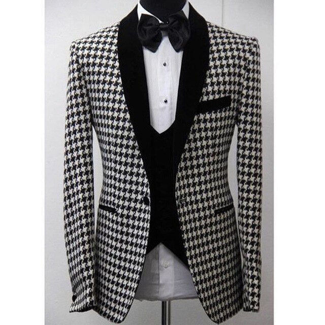 Houndstooth Checkered Wedding Suits for Mens Groomsmen 3 piece Prom Tuxedos Custom Man Blazer Set Jacket Vent with Black Pants