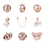 100% Pure Silver Charm Bead Rose Gold Color Pendant Clip Charms CZ Fit Pandora Bracelets DIY Jewelry