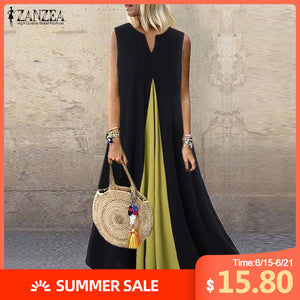 Plus Size ZANZEA Summer Cotton Linen Dress Women Sleeveless Pacthwork Sundress Kaftan Vintage Long Vestido Robe Femme Dresses