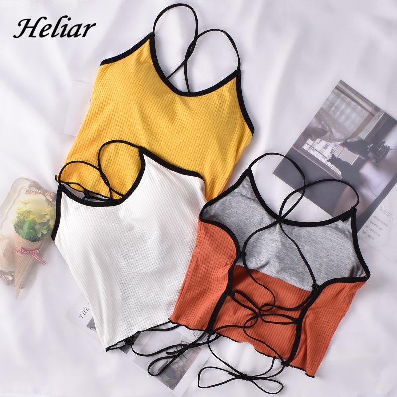 HELIAR Halter Tops Women Backless Bandage Sexy Crop Tops Women Solid Cotton Underwear Tops For Women топ женский 2020 Summer