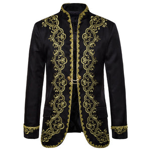 Red Blazer Mens Gold Embroidery Baroque Suit Jacket Luxury Wedding Stage Party Performance Palace Male Blazer Masculino Costume