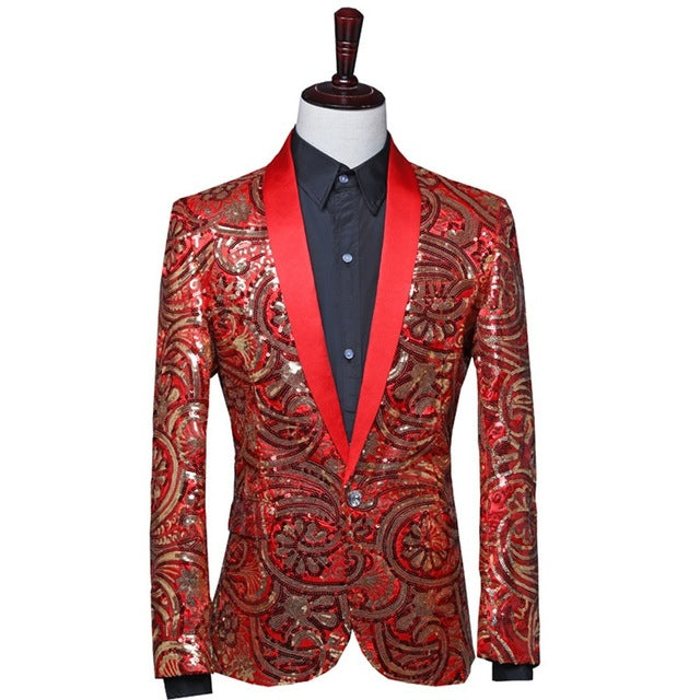 Mens Floral Sequin Slim Fit Shawl Lapel Suit Jacket Tunic Blazer Dance Show Fancy Dress Formal Casual Red Blue 903-B487