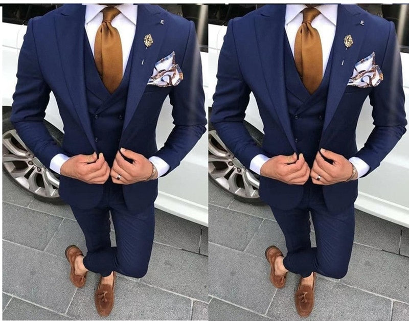 High Quality One Button Navy Blue Groom Tuxedos Peak Lapel Men Suits Wedding/Prom/Dinner Best Man Blazer(Jacket+Pant+Vest)