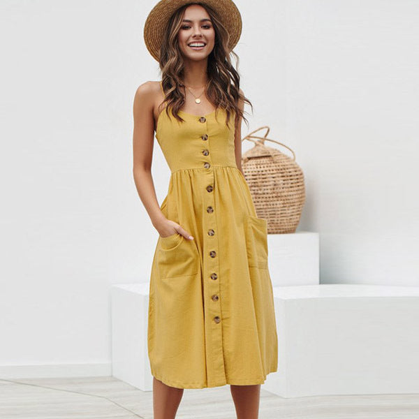 Women's Sexy Summer Midi Dresses Boho Backless Sleeveless Button Striped Dot Solid Midi Dress Slip Sundress With Pockets Robe