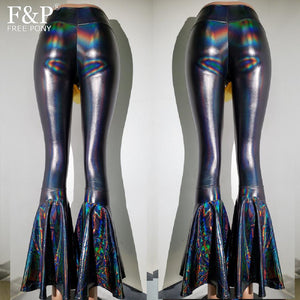 Women Black Holographic  High Waisted Flare Bell Bottom Pants Leggings Rave Festival Outfits Pole Hoop Dance Pants Leggings