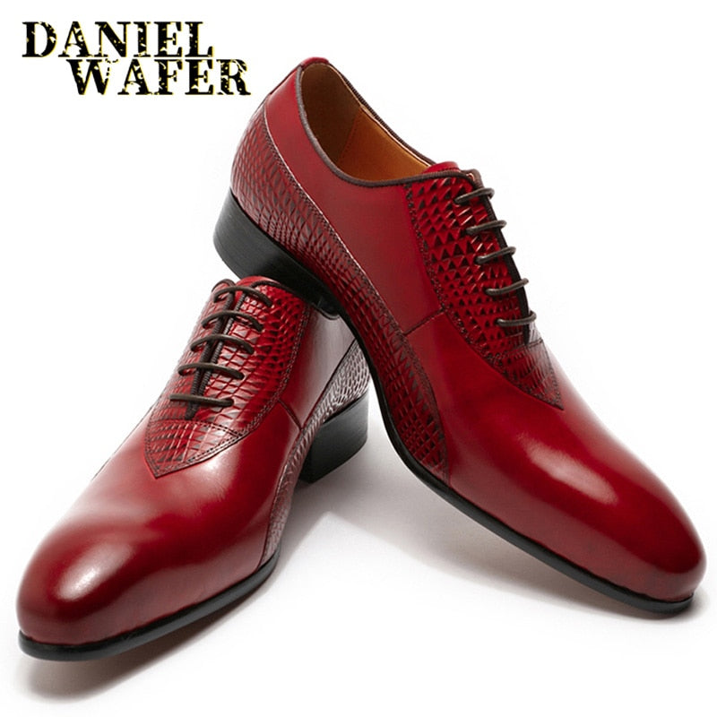 Luxury Men Oxford Shoes Men Dress Shoes Leather Italian Red Black Hand-polished Pointed Toe Lace up Wedding Office Formal Shoes