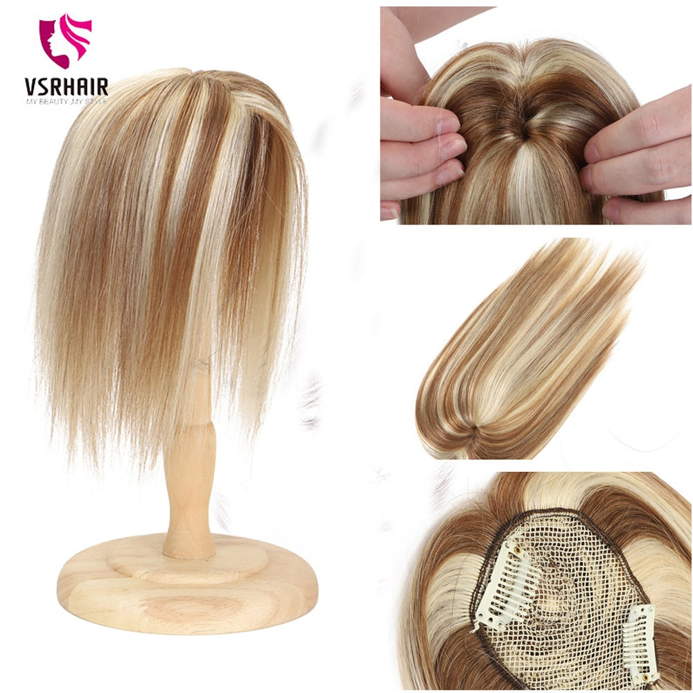VSR Hair Toppers for Women Human Hair Topper Human Hair women top hair pieces for wom Hairpiece 10inch  Mono Clip in Hair Topper