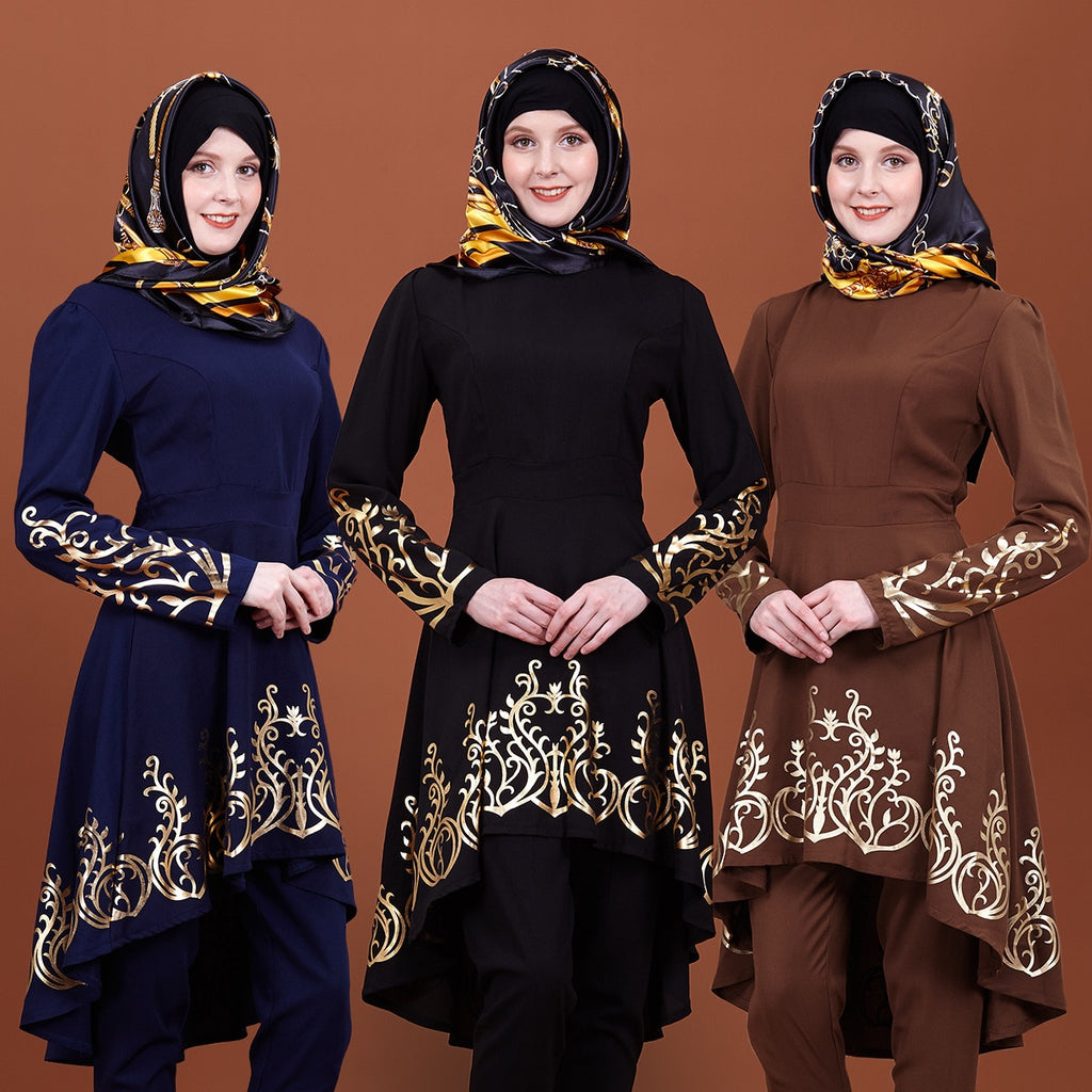 Dubai Muslim Women Dress Asymmetry Mid Tops Ramadan Vestidos Kaftan Turkey UAE African Middle East Arab party Islamic Clothing
