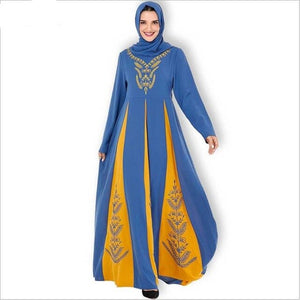 Embroidery Jijab Muslim Dress Female Hit Color Caftan Turkish Islamic Kaftan Robe Musulman Abayas
