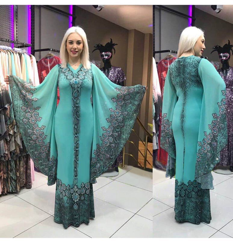 Turkey Muslim Dress Abayas for Women Moroccan Kaftan African Dresses Islamic Clothing Batwing Sleeve Party Night Jilbab Vestidos