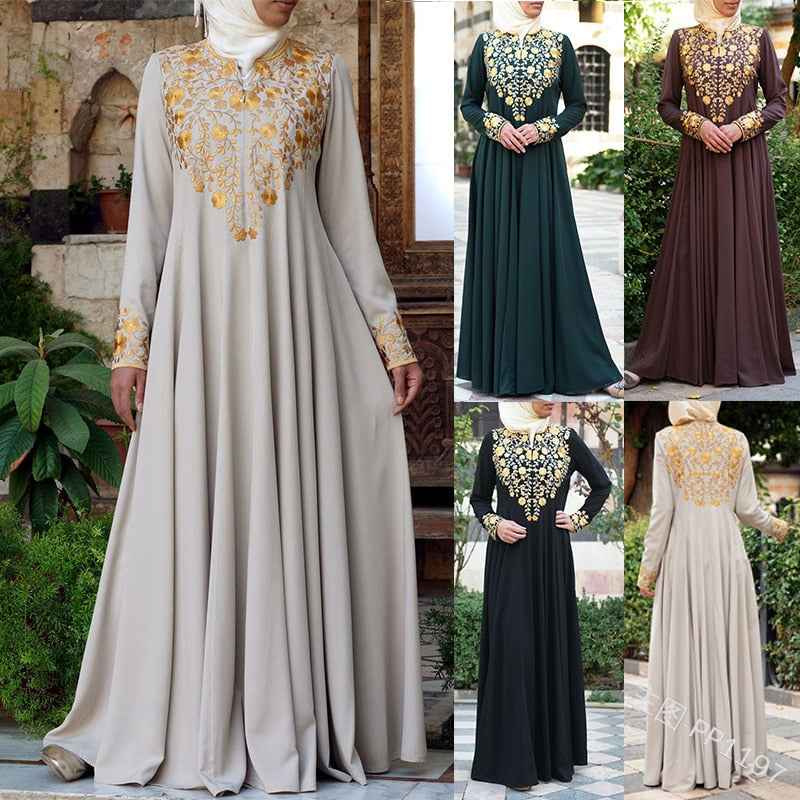 Islamic Clothing Muslim Hijab Dress Women National Wind Embroidered Long Sleeve Dress Robe Big Swing Party Dresses Plus Size 5xl