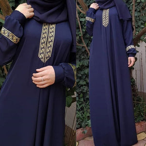2020 New Women's Fashion Muslim Dress Vintage Islamic Loose Clothing Elegant Dubai Turkish Long Sleeve Party Dresses