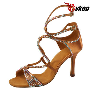 Evkoodance Latin dance shoes Best seller 8.3cm high heel brown black color diamond dance shoes for woman latin Evkoo-024