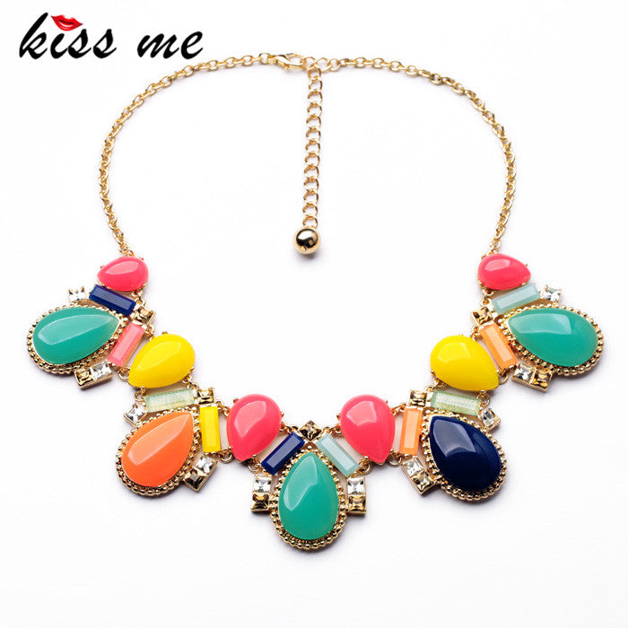 Dress Match Fashion Design Resin Glass Zinc Alloy Best Seller Shiny Colorful Opaque Teardrop Collar Necklace
