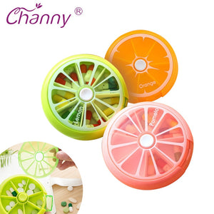 Channy Pill Box Fruit Shaped Vitamin 7 Day Weekly Medicine Pillbox Tablet Storage Case Container Cases Travel Round Health Care