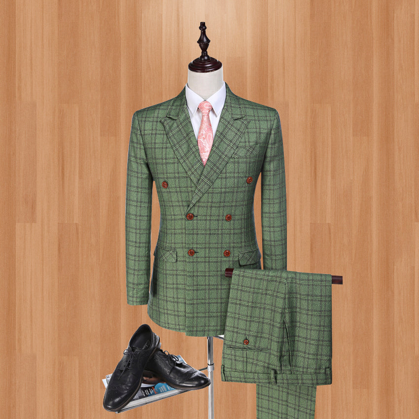 Damier Check  Blazer for Groom Tuxedos Red/Green Jacket Groomsman Suit Wedding suit Custom Made Man Suit (Jacket +pants+vest)
