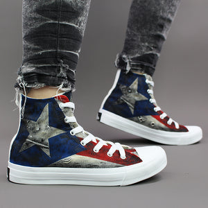 Wen Unisex Design Puerto Rico Flag Hand Painted Canvas High Top Sneakers Athletic Outdoor Shoes for Skateboarding Sport