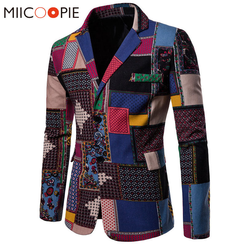 Autumn Men Blazers 2018 Suits Linen Cotton Causal Flower Suit Smart Slim Fit Plaid Dress Mens Blazer Masculino Jacket 4XL