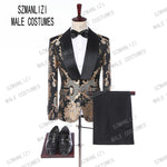 New 2019 Classic Golden Embroidery Men Suits For Groom Tuxedos Costume Homme Groomsmen Mens Wedding Prom Suits Best Man Blazer