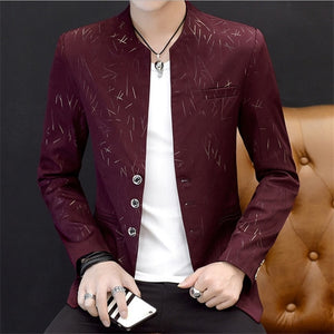 Male Spring Autumn High Quality Fashionsmall suit  casual  collar suit youth handsome trend Slim print suits