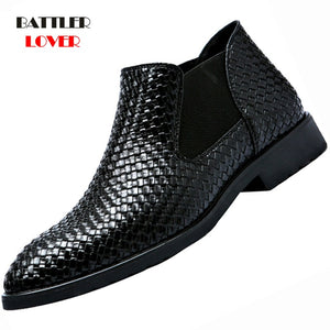 2019 New Fashion Low Cut Crocodile Pattern PU Leather Boot Shoes Mens Slip-on Business Shoes Male Solid Color Formal Dress Shoes