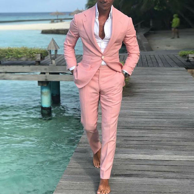 2020 Pink Slim Fit Latest Men Suit Summer Leisure Wedding Tuxedo 2 Pieces Men Suits Prom Business Blazer Pant Suit Costume Homme