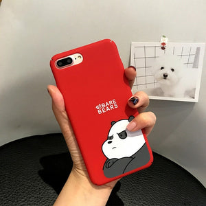 Cute Cartoon Lovely Couple Bear Phone Case for iPhone 6 6s plus 7 7Plus 8 8Plus X XR XSMAX Hard PC Frosted Touch Cover Siedery