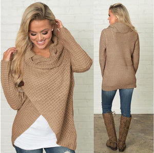 Cowl Neck Knitted Pullover Sweater | I'm Spoiled - Sp-oiled!