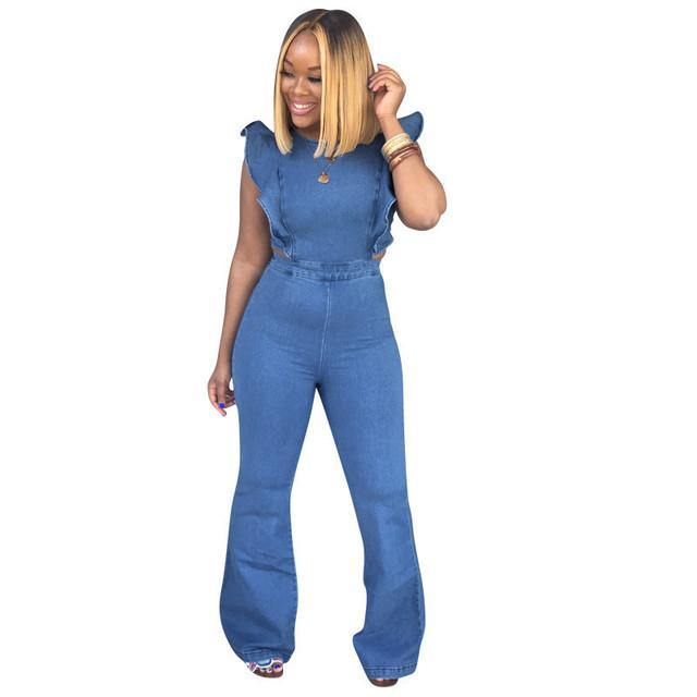 '70s - Inspired Denim, Zipper-Back, Ruffle Sleeve Jumpsuit | I'm Spoiled
