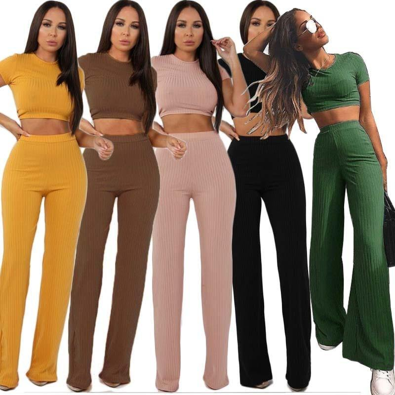 Ribbed 2 Piece Crop Top & Wide Leg Pants Set | I'm Spoiled