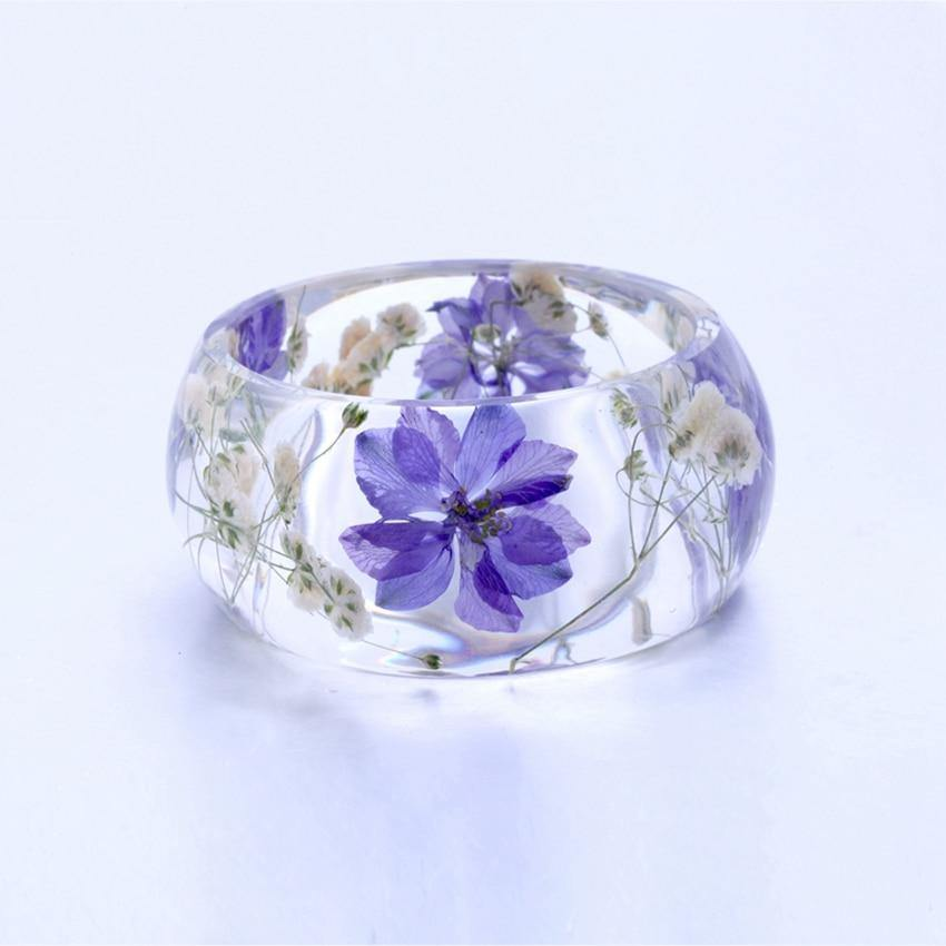 Purple Flower Resin Bangle | I'm Spoiled - Sp-oiled!