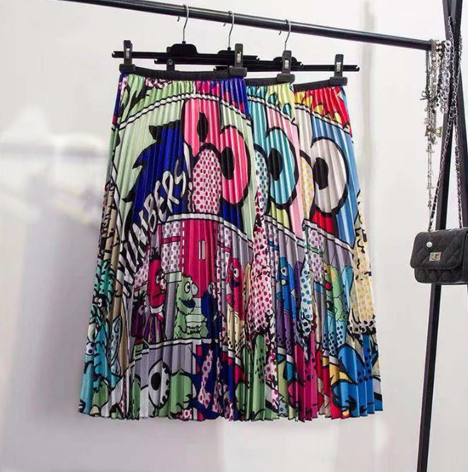 Comic Strip Cartoon Mid Calf Pleated Skirt | I'm Spoiled