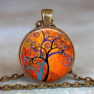 Tree Of Life Glass Cabochon Statement Necklace - Sp-oiled!